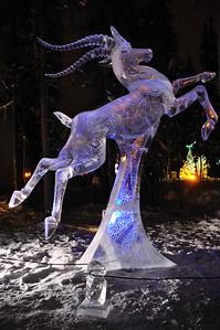 "FAIRBANKS, AK - FEBRUARY 27: ""Chasing the Wind"" Ice Sculpture, 2010 World Ice Art Championships February 27, 2010 in Fairbanks, Alaska"