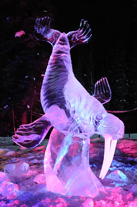 FAIRBANKS, AK - FEBRUARY 27: Unexpected Grace Ice Sculpture, 2011 World Ice Art Championships on February 27, 2011 in Fairbanks, AK