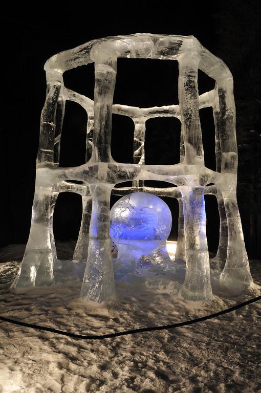 "FAIRBANKS, AK - MARCH 9: ""Tricky Business"" Ice Sculpture, 2010 World Ice Art Championships March 9, 2010 in Fairbanks, Alaska"
