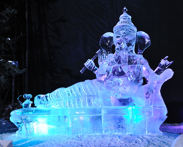"FAIRBANKS, AK - MARCH 9: ""There's No Place Like Om"" Ice Sculpture, 2010 World Ice Art Championships March 9, 2010 in Fairbanks, Alaska"