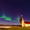 Aurora Display Over Church - 130324_Iceland_9396