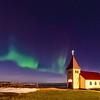 Aurora Display Over Church - 130324_Iceland_9396