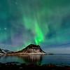 Aurora Over Grundarfjordur Harbor Looking West - 130323_Iceland_8483