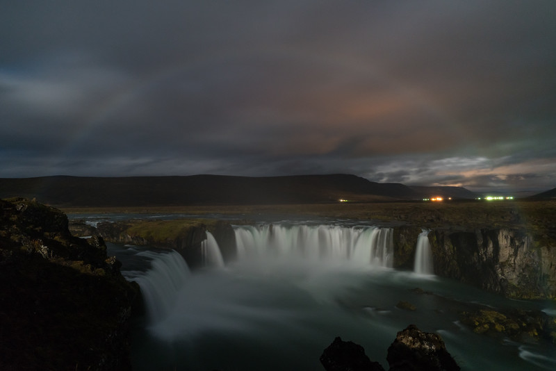 Moonbow over Godafoss