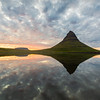 Kirkjufell mountain reflection and sunset.