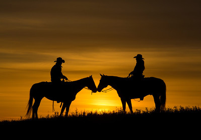 Cowboy & Cowgirl on Horses at Sunset (double)