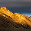 Golden light on hills of Landmannalaugar
