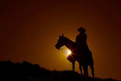 Cowboy on Horse at Sunset with light burst