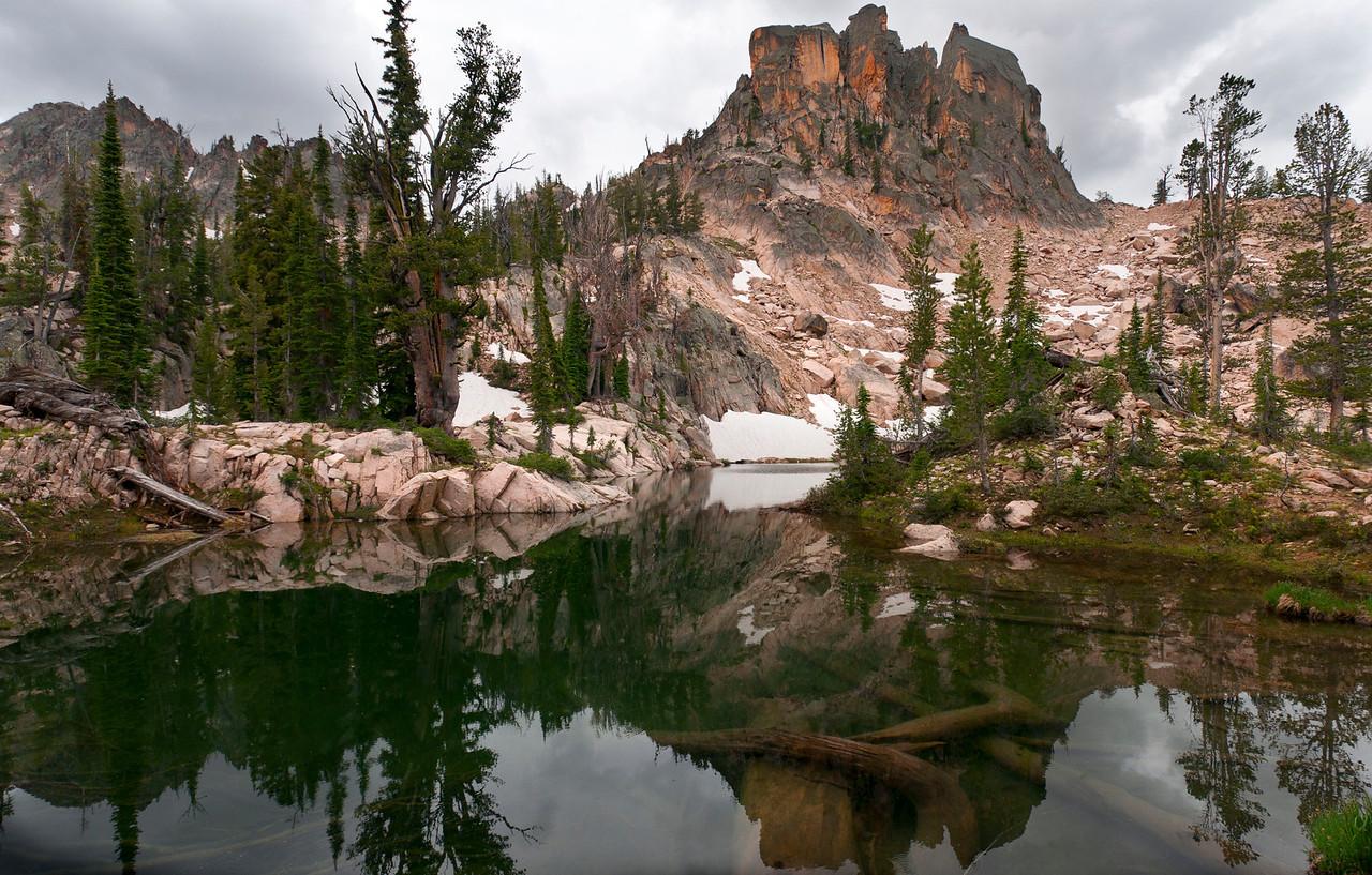 "Mountain Silence, Sawtooth Mountains - Idaho<br /> <br /> This remote location is part of what I have come to call ""Rivendell"", and these magical little emerald lakes were such a joy to discover. In these pristine areas of the Sawtooths it is so vitally important to abide by the ""leave no trace"" rules. Never should a fire be built, a stone turned, or a branch broken from one of these wonderful old Whitebark trees."