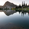 Mt Everly, Sawtooth Mountains - Idaho<br /> <br /> At 9,852 ft., Mt. Everly is not the highest peak in the Sawtooths, but from Lake 8696 it appears it could be. This small lake, at the apex of the Queens River Trail, marks the start of the return loop on the Little Queens Trail, or the jumping off point for many off-trail adventures.