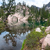Rivendell Basin, Sawtooth Mountains - Idaho<br /> <br /> The Rivendell realm is a high alpine cirque that holds eight small emerald lakes, of which this is lake #3. Very difficult to approach, and invisible from nearby peaks, this area is seldom visited - perhaps only a dozen times each decade.