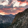 Sunrise over Fall Creek, Sawtooth Mountains - Idaho<br /> <br /> Fall Creek valley, in the lower left, has no established trail and entry is not without a struggle. It is a contributing source of water for the South Fork of the Payette River, near Elk Lake. Here, from this rocky ridge at the edge of what I call 'Fairy Meadows', the pink light of 'pre-sunrise' was a fantastic sight, as the previous mornings were cloud-free, offering no such colors. We were in the right place at the right time.
