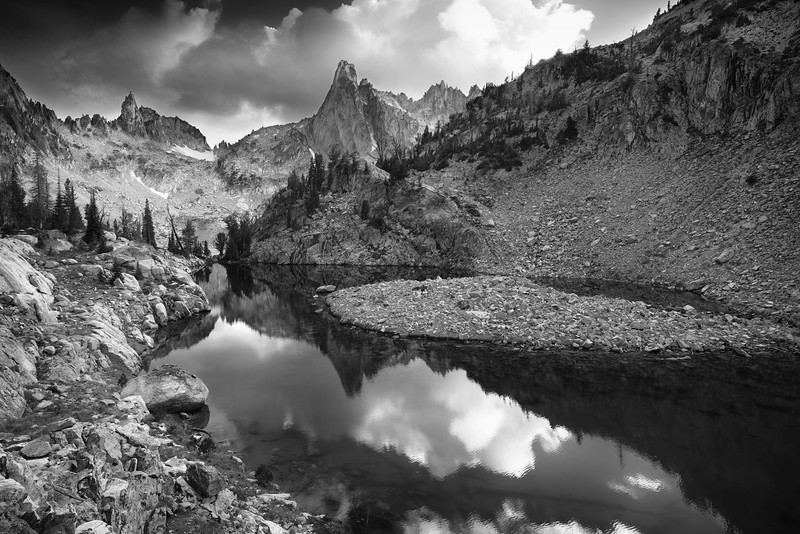Monolith Valley, Sawtooth Mountains - Idaho<br /> <br /> The Rotten Monolith, and its associated spires, dominate this small cirque just north of Mt. Heyburn, the prominent peak that rises above Redfish Lakes, northwestern shore. Getting here is, at best, time consuming - but the views are seldom seen by backpackers.