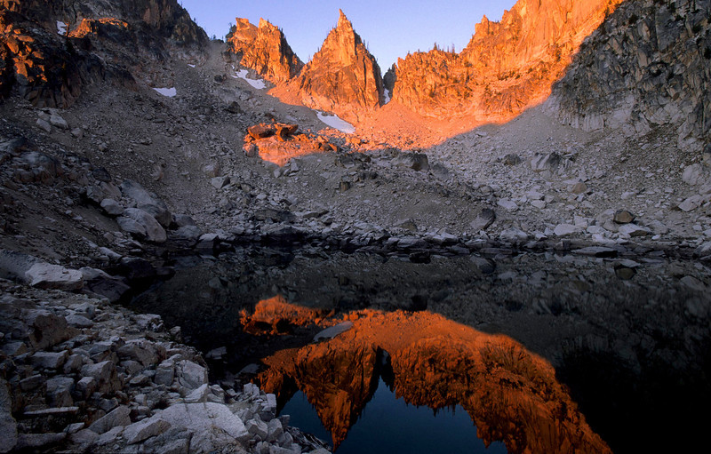Skinny Dipper Lake, Sawtooth Mountains - Idaho<br /> <br /> A hidden gem in the Sawtooth Mountains of central Idaho. Inaccessibility, and an alpine camping theater, detour all but the burliest of hikers to this pristine environment. The bottom line - it's a pain in the ass to get here, but so worth it in the end.