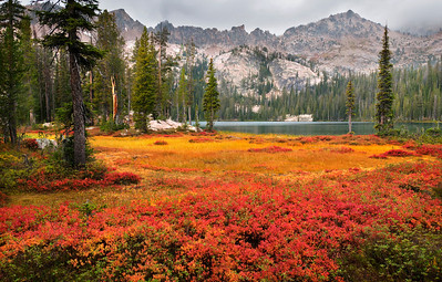 South Alpine Lake, Sawtooth Mountains - Idaho  The tightly packed grasses and stunted shrubs that surround Alpine Lake become a blazing palette of warm colors in late autumn. There are two Alpine Lakes in the Sawtooth Mountains of Idaho, and this is the more southerly of the two.