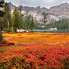 South Alpine Lake, Sawtooth Mountains - Idaho<br /> <br /> The tightly packed grasses and stunted shrubs that surround Alpine Lake become a blazing palette of warm colors in late autumn. There are two Alpine Lakes in the Sawtooth Mountains of Idaho, and this is the more southerly of the two.