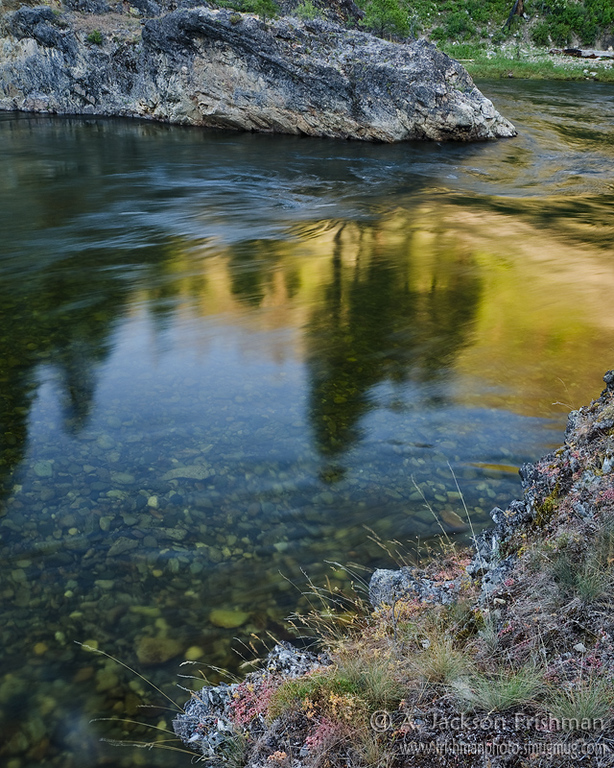 Evening light on deep pool, Middle Fork of the Salmon River in Idaho's Frank Church-River of No Return Wilderness, July 2011.