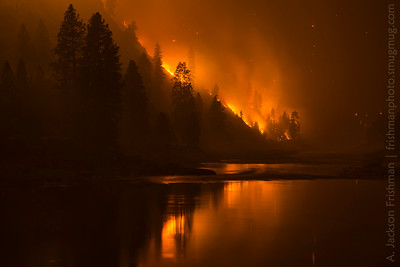 The Tepee Springs Fire reflected in the Salmon River, Idaho, August 2015.