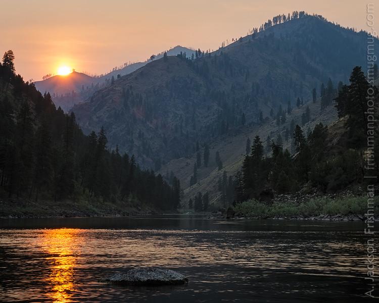 Setting sun through wildfire smoke, Main Salmon, Gospel-Hump Wilderness, August 2014.
