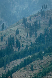 Wildfire smoke in the Main Salmon canyon, Frank Church-River of no Return Wilderness, August 2014.