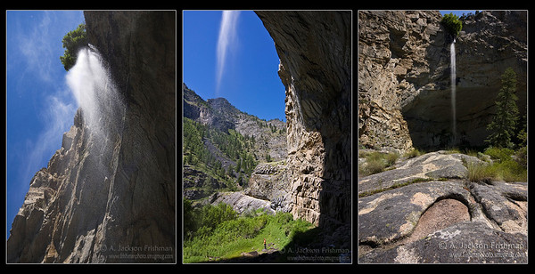 Three views of Veil Falls, in the Impassable Canyon of the Middle Fork of the Salmon, Frank Church-River of No Return Wilderness, Idaho, Summer 2010. Note the person in the middle image for scale.
