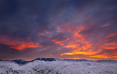 Winter Sunrise, Boise Foothills - Idaho  Early morning, 6° above zero, halfway to Bogus Basin ski resort.