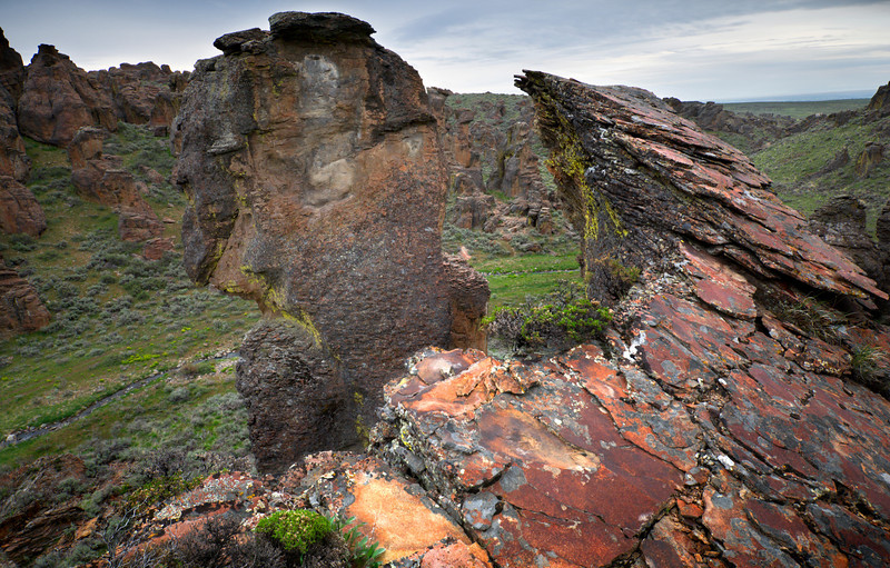 Sickle Ledge, Little City of Rocks - Idaho  Amazing fragile towers and colorful crumbling ledges fill the tiny canyons north of Gooding, Idaho.