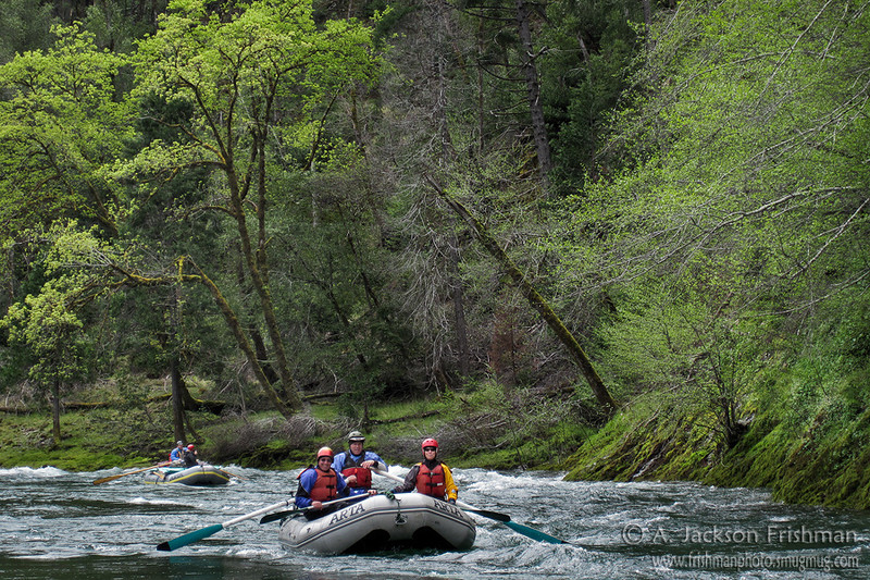 Rafts and spring leaves in Oregon's Kalmiopsis Wilderness, April 2011.