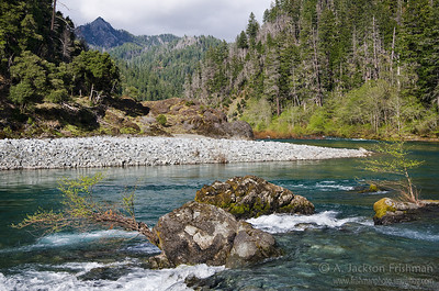 Klondike Creek meets the Illinois River in Oregon's Kalmiopsis Wilderness, April 2011.