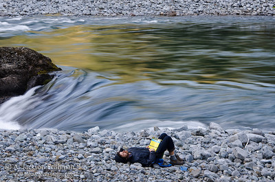 Time for rest on Oregon's Illinois River, April 2011.