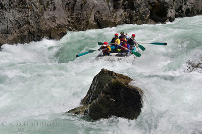 Steve Welch and Crew in the gut of Greenwall Rapid, Illinois River, Oregon, April 2011.