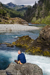 Enjoying the river view at Klondike Creek in Oregon's Kalmiopsis Wilderness, April 2011.