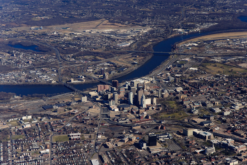 Hartford, Connecticut from the sky.