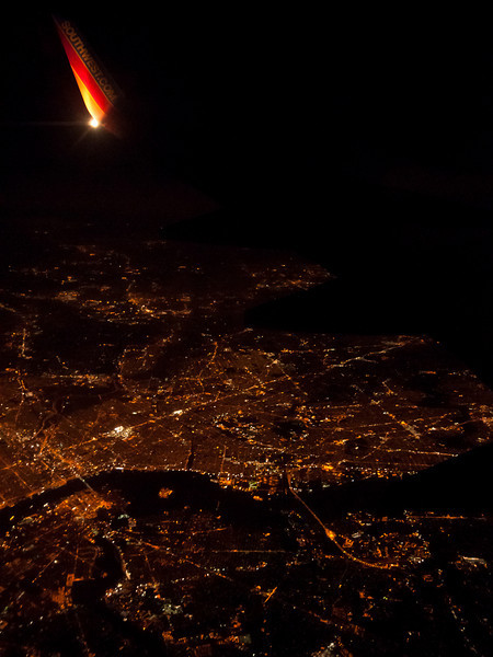 In flight at night over New Jersey on Southwest Airlines flight 805 from Baltimore's BWI airport to T.F. Green in Providence, Rhode Island.