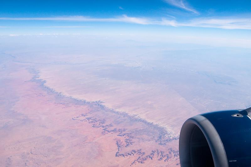 Somewhere over the Nevada deserts.