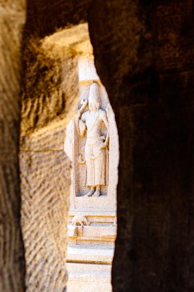 Female figure, Arjuna Ratha, Pancha Rathas (Five Rathas) of Mamallapuram, an Unesco World Heritage Site in Tamil Nadu, South India, Asia