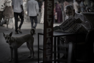 Old man reading paper