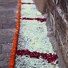 FLOWER DECORATIONS FOR THE ROYAL MARRIAGE. MEHERANGARH FORTRESS. JODHPUR. RAJASTHAN. INDIA.