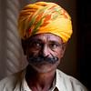 GUARD WITH YELLOW TURBAN. JODHPUR CASTLE. RAJASTHAN. INDIA.