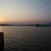 SUNSET AT JAG NIWAS PALACE. UDIAPUR. RAJASTHAN. INDIA.