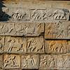 Rich decorated wall of the Mahanavani Dibba, Hampi, Karnataka, India