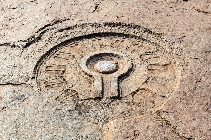 A shiva linga carved into the bank of the Tungabhadra River, Hampi, Karnataka, India, Asia