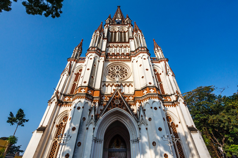 Facade of the Our Lady of Lourdes church in Trichy, Tamil Nadu, India