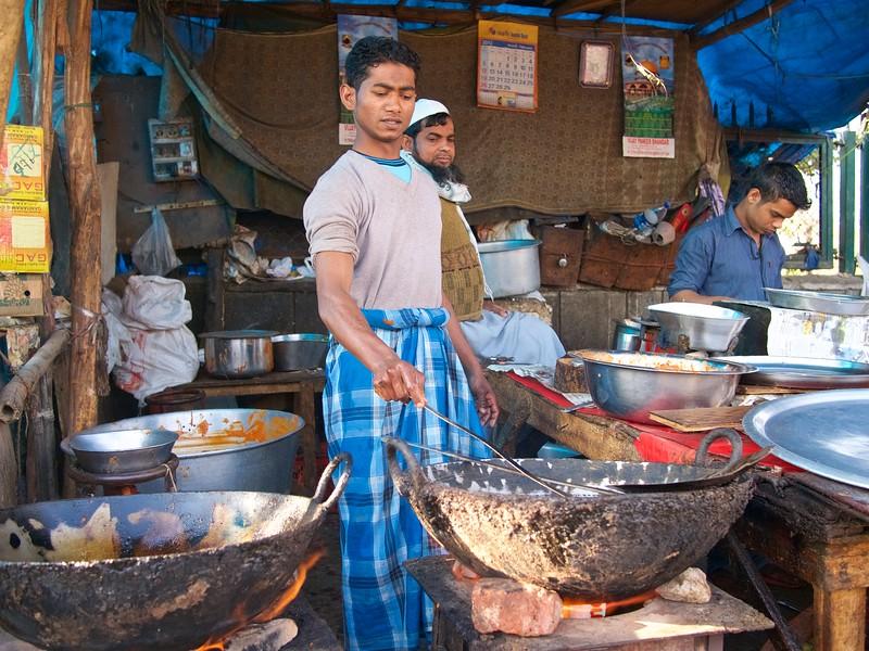 Cooking at the Market - New Delhi, India
