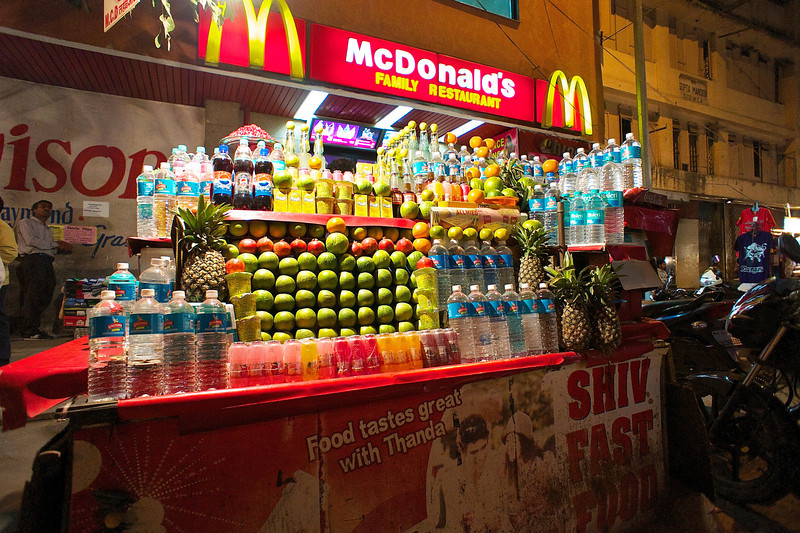 Fruit Stand and the Golden Arches - Delhi, India
