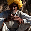 RAJASTHAN. A PORTRAIT OF AN OLD MAN WITH YELLOW TURBAN.