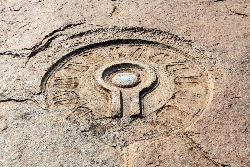 A shiva linga carved into the bank of the Tungabhadra River, Hampi