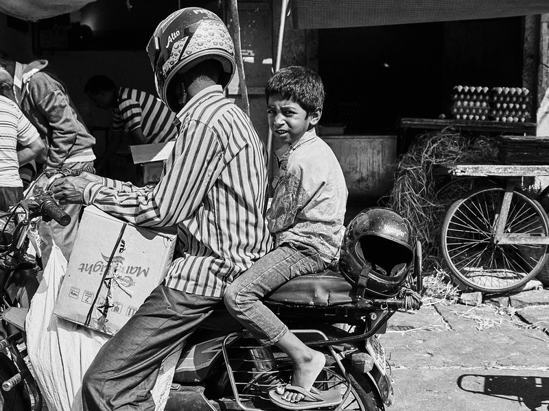 Boy on Motorcycle - Mysore, India