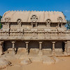 Exterior of the Bhima Ratha, one of the Pancha Rathas (Five Rathas) of Mamallapuram, an Unesco World Heritage Site in Tamil Nadu, South India, Asia