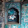 BUNDI. RAJASTHAN. FADING BLUE PAINTINGS INSIDE THE ROYAL PALACE.